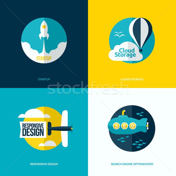 Photo stock: Vecteur · design · démarrage · processus · nuage · stockage