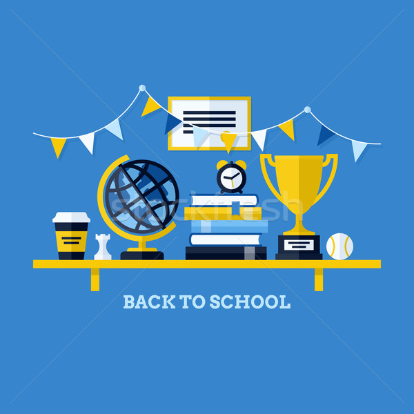 Сток-фото: Снова · в · школу · столе · школьные · принадлежности · Creative · дизайна · Элементы