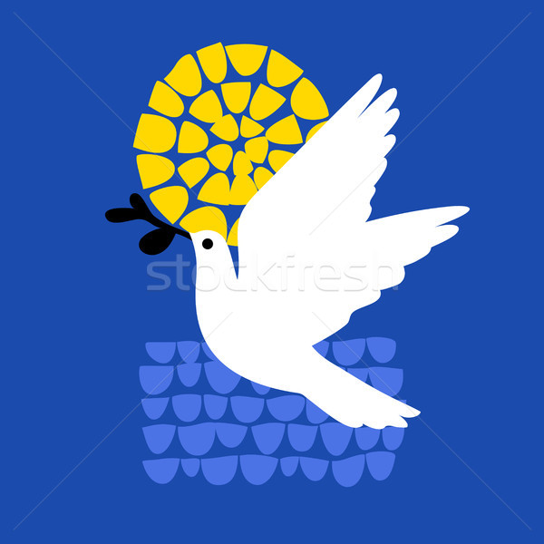 Stock photo: Peace day greeting card with flying dove holding olive branch