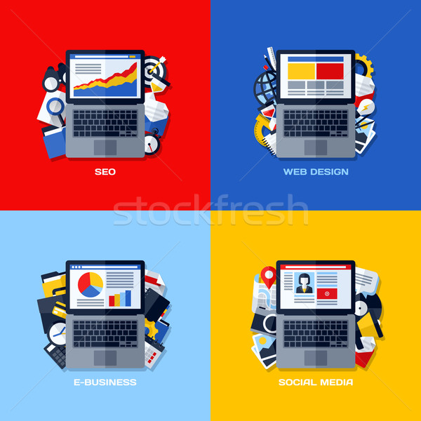 Modern flat vector concepts of SEO, web design, e-business, social media. Design elements set for we Stock photo © ussr