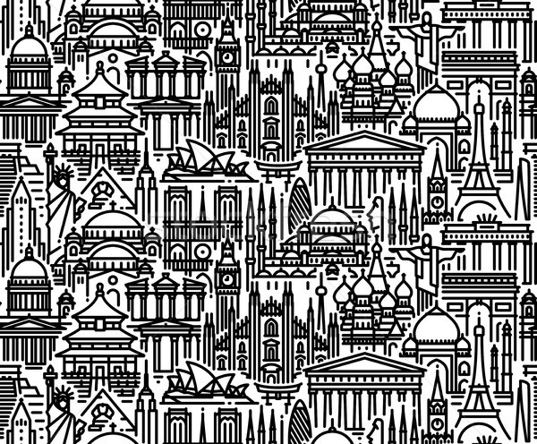 Seamless pattern with cityscape of worlds most popular tourist attractions Stock photo © ussr