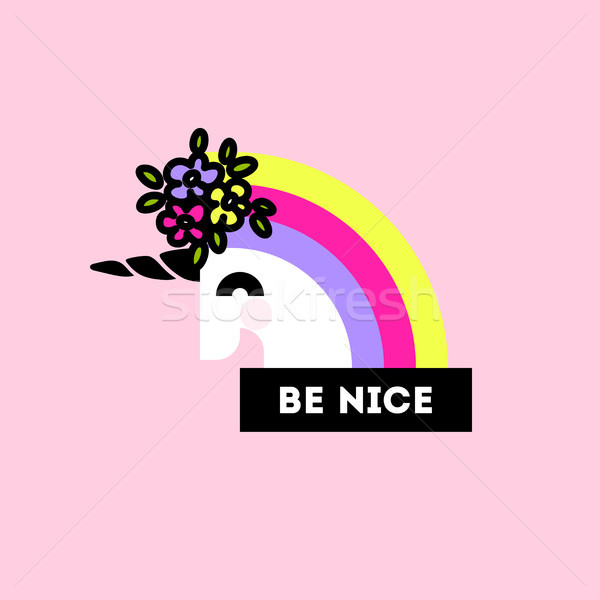 Unicorn with flower arrangement on head and be nice lettering Stock photo © ussr