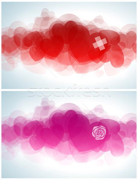 Photo stock: Résumé · design · coeurs · fleur · amour · rose