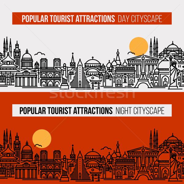 Cityscape popularny turystycznych line stylu ilustracja Zdjęcia stock © ussr