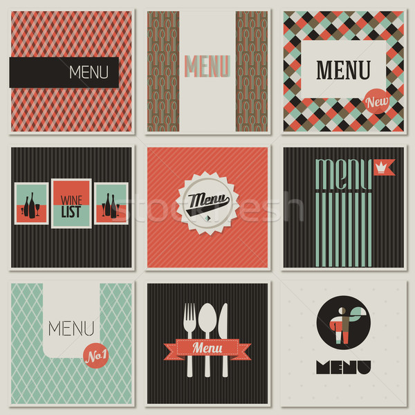 Stock photo: Menu label on a seamless background. Set of retro-styled illustrations.
