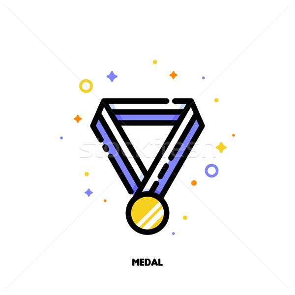 Icône médaille d'or rayé ruban succès gagnant Photo stock © ussr