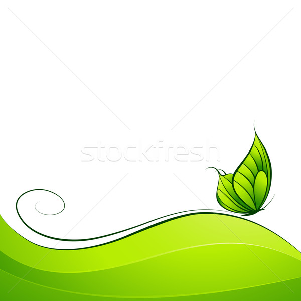 Stock photo: Butterfly on abstract background. Vector illustration.