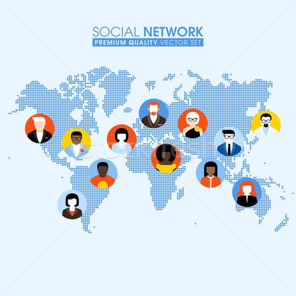 Stock fotó: Közösségi · háló · kommunikál · emberek · térkép · pontozott · világtérkép