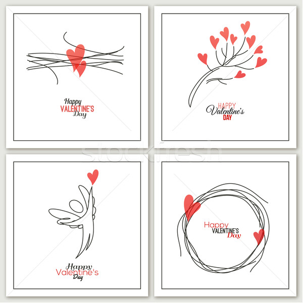 Valentines Day greeting cards - vector illustration Stock photo © ussr