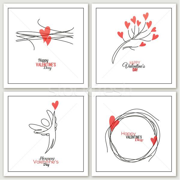 Valentijnsdag groet kaarten ontwerp kunst engel Stockfoto © ussr