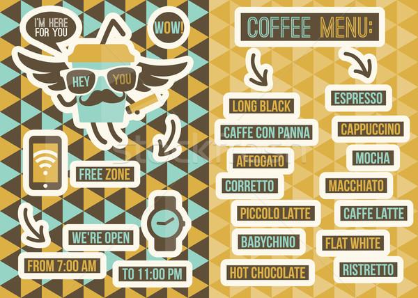 Foto stock: Café · menu · sem · costura · fundos · projeto · elementos
