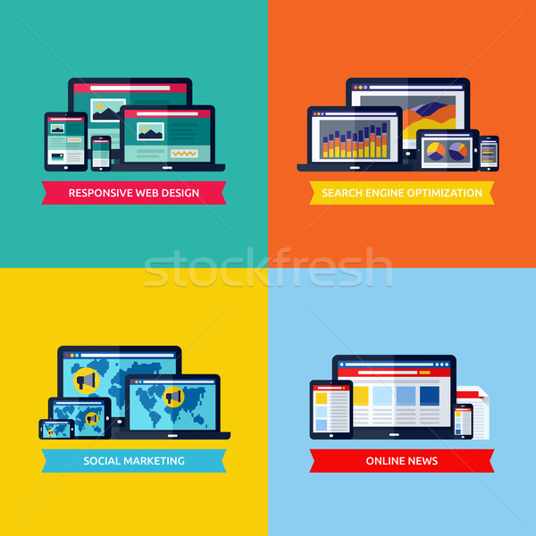 Modern flat vector concepts of web design, SEO, social media marketing, online news. Design elements Stock photo © ussr