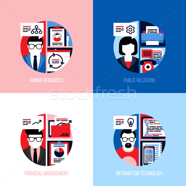Flat design concepts for employees of human resources, public relations, financial management, infor Stock photo © ussr