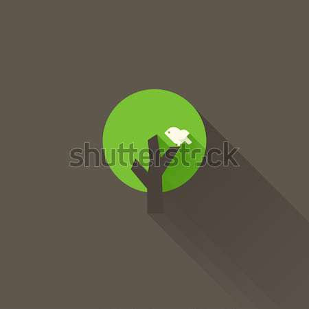 Green tree and white bird. Flat icon with long shadow. Vector illustration Stock photo © ussr