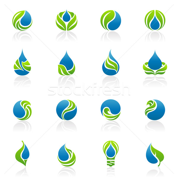 Drops and leaves. Vector logo template set. Elements for design. Icon set. Stock photo © ussr