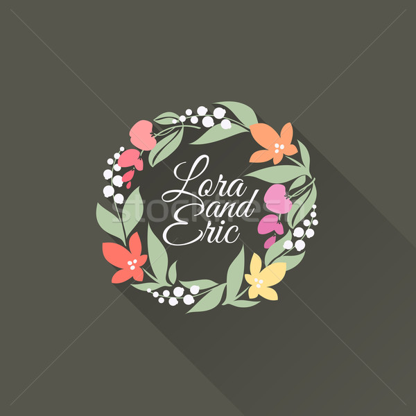 Floral wreath. Flat design with long shadow. Vector illustration Stock photo © ussr