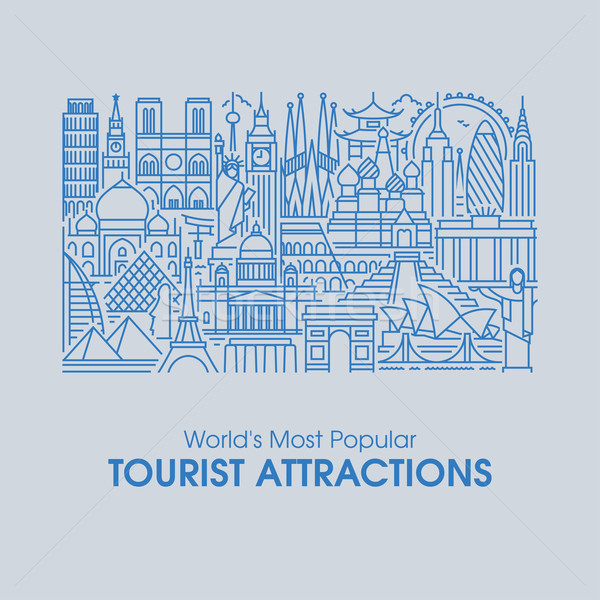 Flat line design of world's most popular tourist attractions Stock photo © ussr