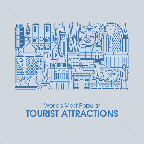 Linha projeto popular turista estilo ilustração Foto stock © ussr