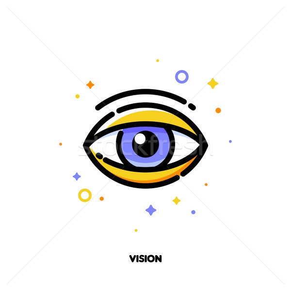 Icon of human eye for business vision concept. Flat filled outline Stock photo © ussr