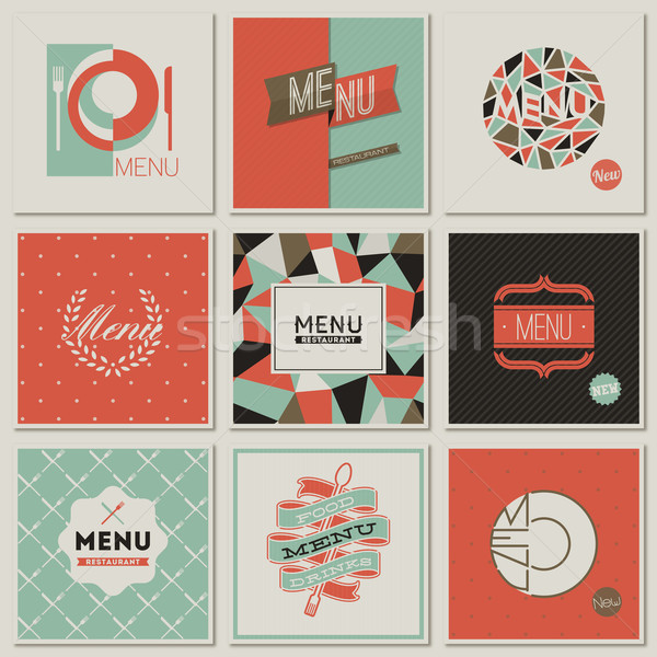 Stock photo: Restaurant menu designs. Collection of retro-styled vector illus