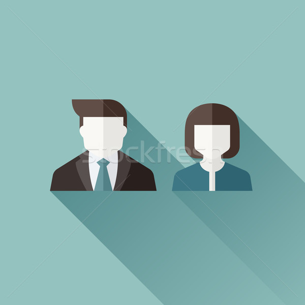 Male and female user icons. Flat design with long shadow. Vector illustration Stock photo © ussr