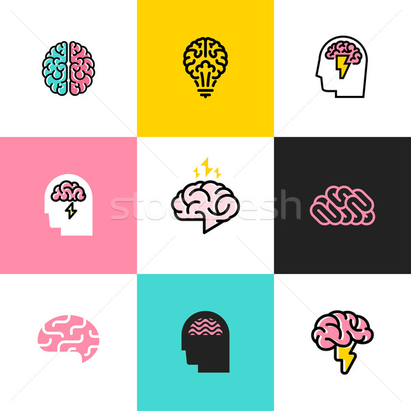 Set of flat line icons and logos of brain, brainstorming, idea, and creativity Stock photo © ussr
