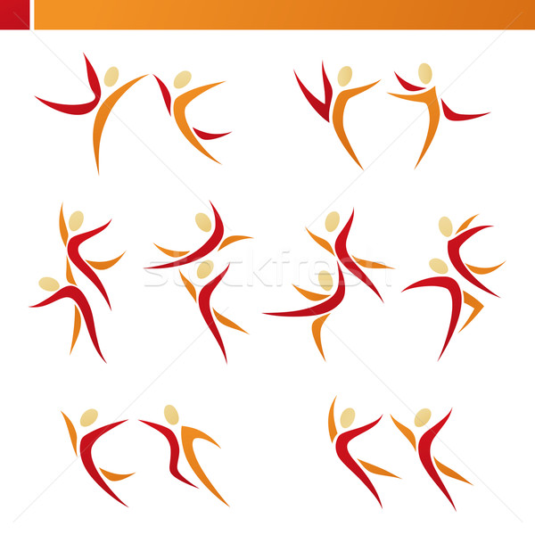 Stock photo: Abstract human couple in action. Vector logo template set. Eleme