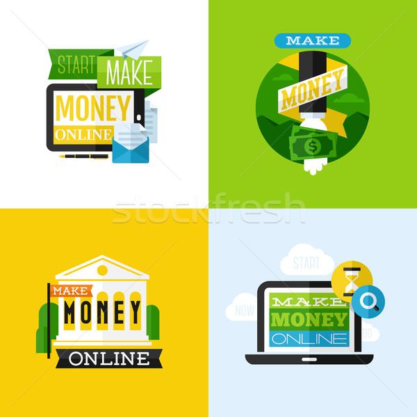 вектора дизайна деньги финансовых иконки Сток-фото © ussr