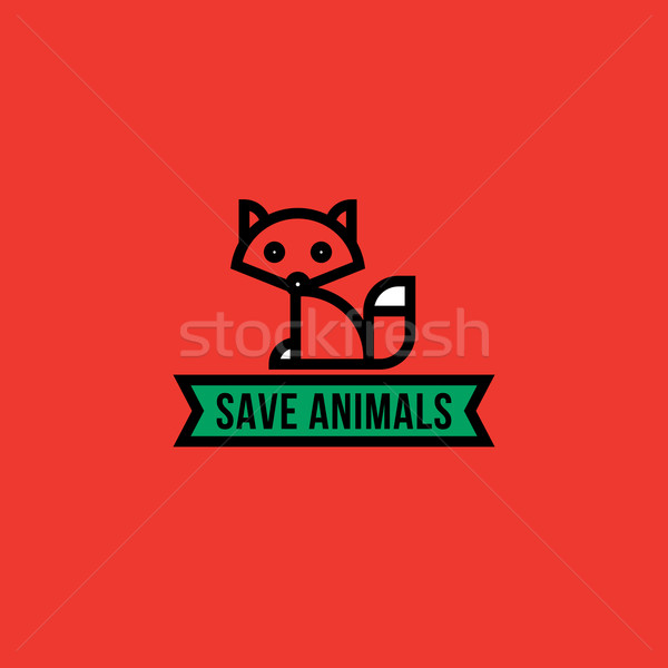 Save the animals concept with red fox Stock photo © ussr