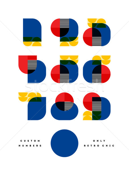 Poster with elegant only retro chic font of numbers in Bauhaus Stock photo © ussr
