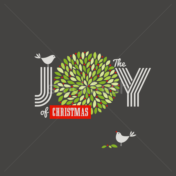 Christmas background with cute birds and the joy of Christmas slogan Stock photo © ussr