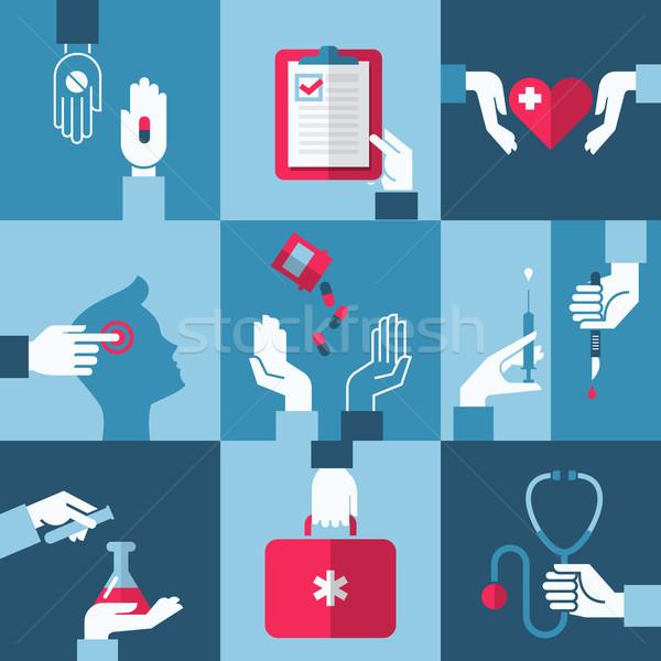 Stock fotó: Orvosi · egészségügy · terv · elemek · kéz · kereszt