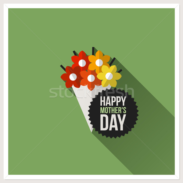 Happy Mother's Day. Flat design greeting card with colorful bouquet Stock photo © ussr