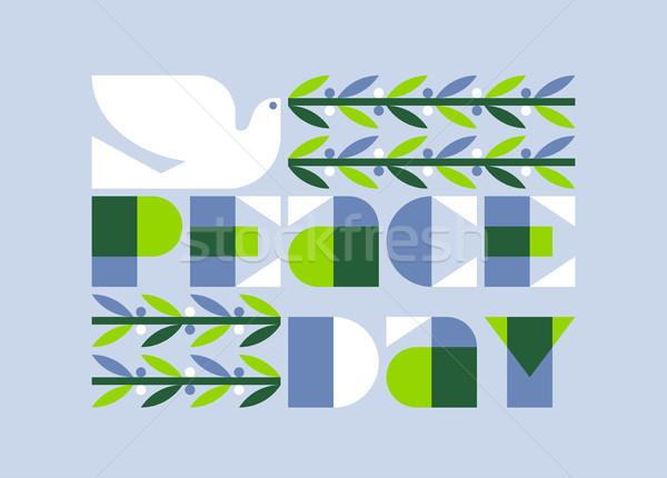 Internationaux paix jour affiche élégante colombe Photo stock © ussr