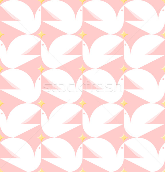 Dove holding star. Vector seamless pattern with white pigeons  Stock photo © ussr
