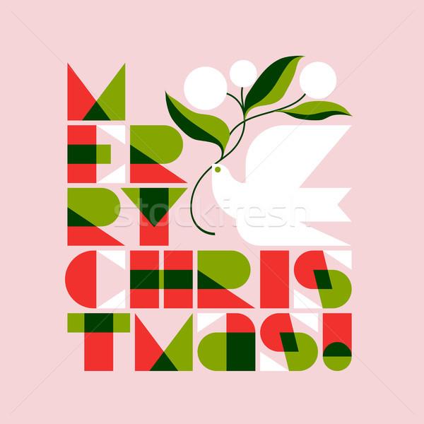 Natale biglietto d'auguri allegro colomba battenti Foto d'archivio © ussr