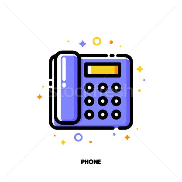 アイコン オフィス 電話 通信 サポート ストックフォト © ussr