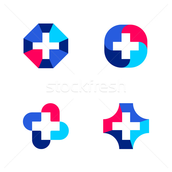 Set of abstract medical logo mark templates or icons with cross Stock photo © ussr