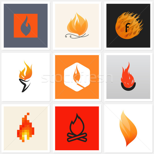 Flame. Set of design elements Stock photo © ussr