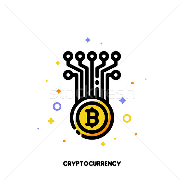 Icon of abstract cryptocurrency coin for money concept Stock photo © ussr