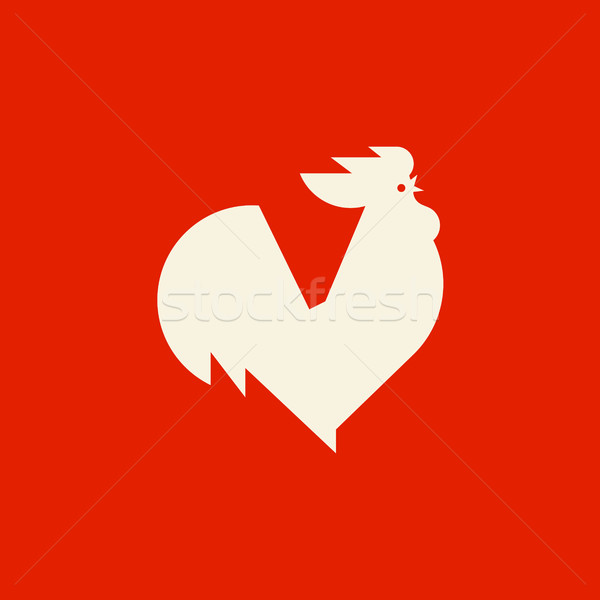 Silhouette of crowing rooster. Modern flat vector logo template or icon of cock Stock photo © ussr