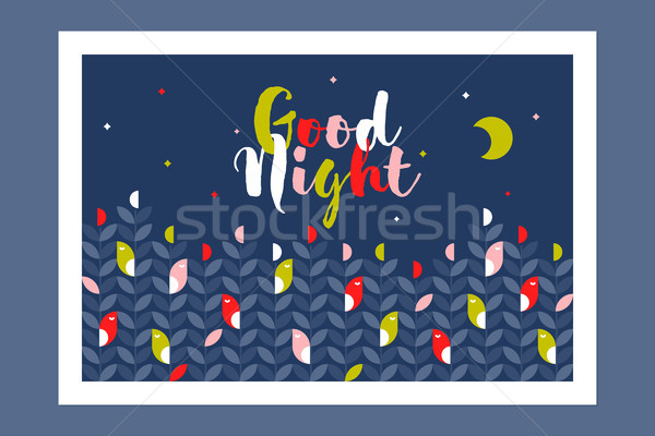 Good night card or poster with cute sleeping birds and multicolored calligraphic lettering Stock photo © ussr