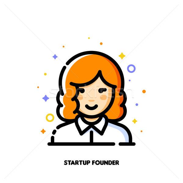 Feminino usuário avatar startup ícone bonitinho Foto stock © ussr