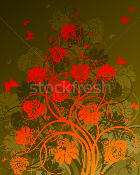 Stock photo: Floral background with butterflies. Vector illustration.
