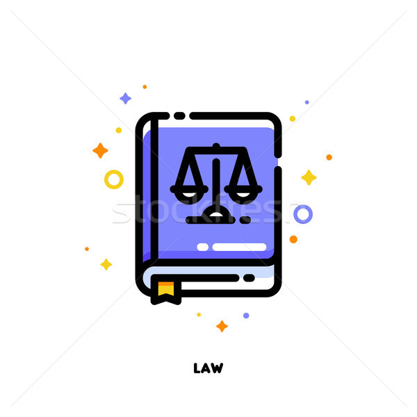Icon of law book for justice concept. Flat filled outline style Stock photo © ussr
