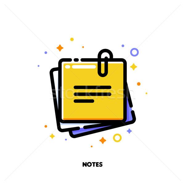 Ikon citromsárga öntapadó jegyzet szöveg irodai munka skicc Stock fotó © ussr