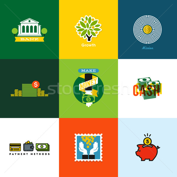 Flat vector money concepts. Creative icons of wallet, banking, cash, growth, piggy bank, coins Stock photo © ussr