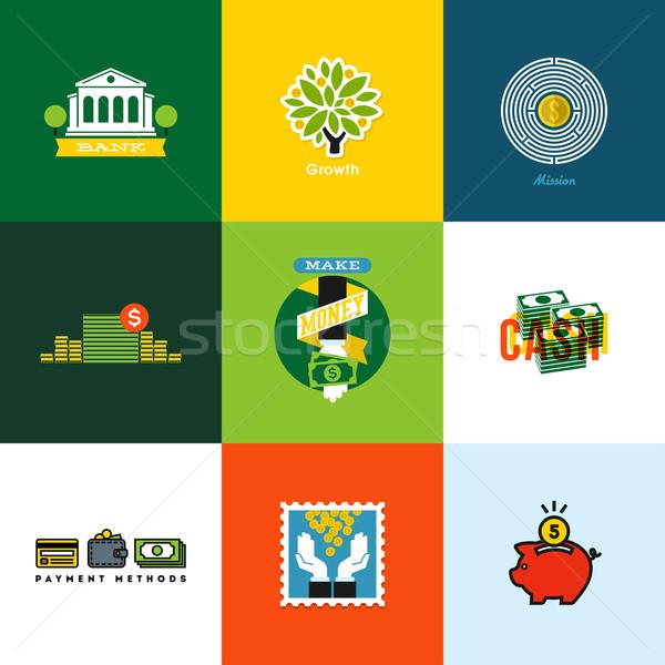 Vektör para kavramlar yaratıcı simgeler cüzdan Stok fotoğraf © ussr