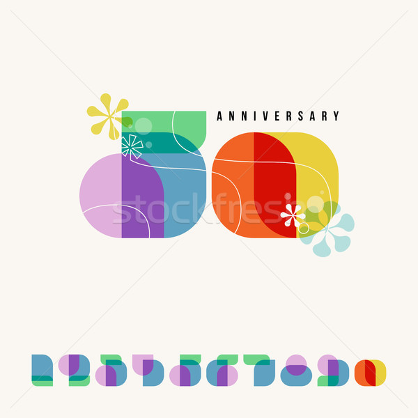 Happy anniversary card or banner design with set of elegant retro numbers. Modern numeral symbols in Stock photo © ussr