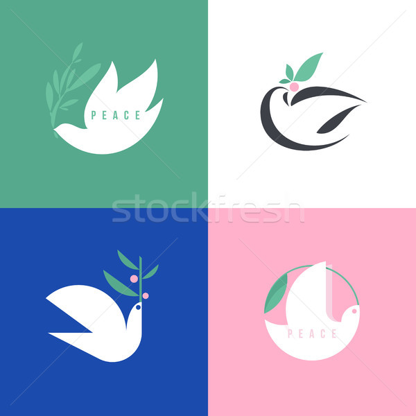 Vrede duif stijl vector icon logo Stockfoto © ussr